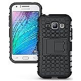 Cubix Defender Series Dual Layer Hybrid TPU + PC Kickstand Case Cover for Samsung Galaxy J1 (Black)