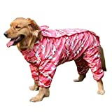 Regenmantel Hund, Legendog Wasserdicht Breathable Hund Regenjacke Haustier Kleidung mit Abnehmbarem Hut für Große Hunde Tarnung Rosa