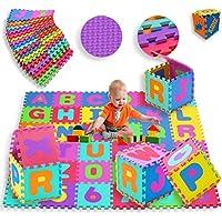 KIDIZ® Spielmatte 86 tlg. Spielteppich Puzzlematte Kinderteppich Matte Schutzmatte Kinderspielteppich Schaumstoffmatte ABC bunt Lernteppich Puzzleteppich Puzzle Zahlen und Buchstaben preisvergleich bei kleinkindspielzeugpreise.eu