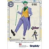semplicità Modello 8195BB (46-48-50-52) da Uomo DC Comics Joker Costume, Carta, Bianco, 22.16x 15.16x 1.16cm