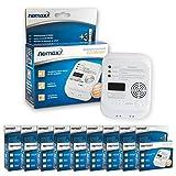 9x Nemaxx Co Melder - intelligenter Kohlenmonoxid Sensor, batteriebetriebener Warner und Alarm mit Digitalanzeige - nach DIN EN50291