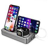 L&Z USB-Ladestation Fast Wireless Charger Pad Stand, intelligentes Ladegerät, Intelligente QC3.0-Schnittstellen, Aluminium-Ladegerät Dock Station Phone Metallhalterung Ersatz für iWatch-Serie 4 3 2 1