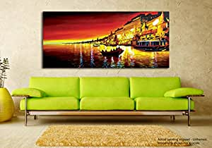 Tamatina Fabric Canvas Painting - Holy River Ganges - Varanasi by Ganga (Multicolour)