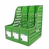 Sayeec 1porte-revues en plastique résistant pour bureau, placard ou étagère 3 compartiments. Triplicate Green-Triplicate