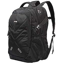 """Sac à Dos Ordinateur Portable 18,4 """"50L Housse Imperméable Laptop Backpack Rucksack avec Pris USB Anti-choc Unisexe Femme Homme pour Randonnée Voyage Scolaire Bureau Trekking Noir"""