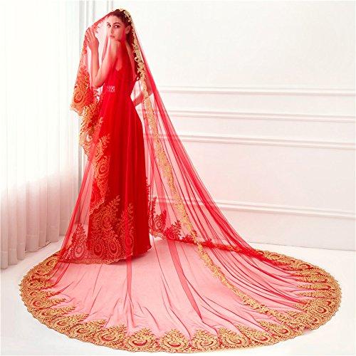 Velo da sposa cattedrale di nozze 3,5 m lunga coda di pizzo fila di fiori single layer soft filato bianco/avorio/rosso,red