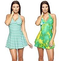 Confezione doppia! Vestito dalla spiaggia di estate, Push Up Halter