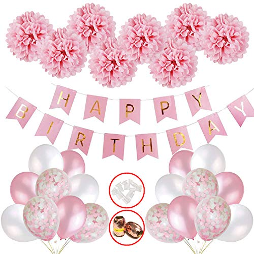 Mädchen, Happy Birthday Girlande Ballons Banner Set mit Deko Geburtstag, Deko Kindergeburtstag, Seidenpapier Pompoms Rosa und Rosa Ballons für Mädchen Freundin Tochter ()