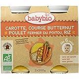 Babybio Pots Carotte Courge Butternut Poulet Fermier du Poitou Riz 400 g - Lot de 6