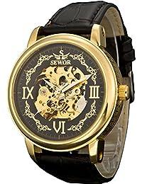 SEWOR reloj para hombre de oro de vestido cruzado patrón funda de piel mecánica reloj de pulsera esfera de color negro