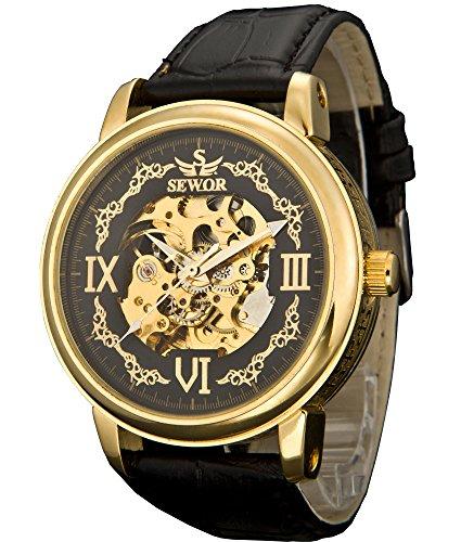 Sewor Crusader Mens Mechanical Hand Wind Skeleton Transparent Wrist Watch (Gold Black)