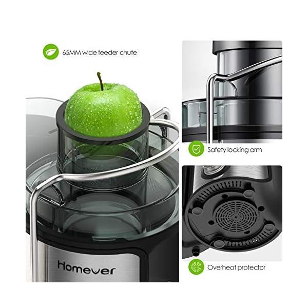 Estrattore di Succo a Freddo, Homever Estrattore Frutta Verdura da Alta Velocità con Bocca Larga 65 mm, Estrattore di Succo in Acciaio Inossidabile Senza BPA, Doppia Impostazione di Velocità - 2021 -