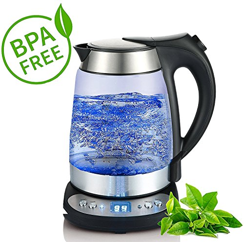 Glas Edelstahl Wasserkocher 1,7 Liter mit Temperaturwahl (55°C-95°C) 2.200 Watt Warmhaltefunktion exclusive blaue LED Beleuchtung Temperatureinstellung