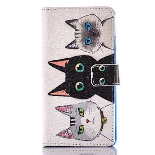 Nancen Huawei P9 (5,2 Zoll) Flip Leder Case / Handyhülle, Katzen Serie Nette Karikatur Drei Katzen Muster Folding PU Lederhülle Bookstyle Cover - mit Stand Funktion, Brieftasche und Karte Slot