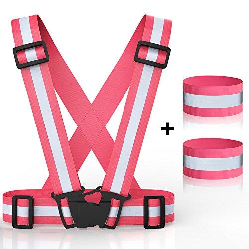 Équipement de course réfléchissant, brassards de gilet de sécurité brides de cheville Haute visibilité ceinture réglable Set léger portable pour coureur courir en plein air, équitation, vélo, marche, jogging - rose