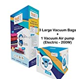 #10: Real Space Bag Vacuum Storage Bags with Air pump for Clothes ( Large size) - Set of 3 bags in Large size + 1 Electric Vacuum Air Pump. Total 4 Items.