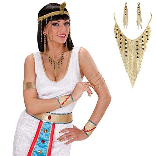 Ägypten Kette und Ohrringe Nofretete Schmuck Set gold Göttin Gold Halskette und Ohrhänger Cleopatra Goldschmuck Antike Schmuckset Orient Kostüm Accessoire