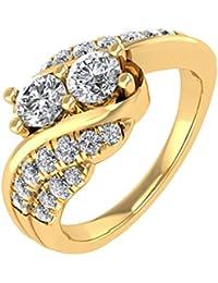 IGI certificado Prong Set Diamond Anillo de compromiso en 18 K oro (3/4