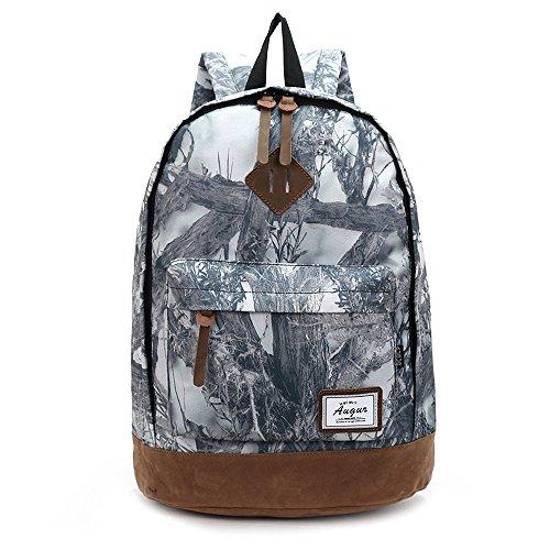 30L AOKE Frauen / Frauen / Mädchen Rucksack Mode Doppel Schulter Tasche Rucksack Lila Camo weiß