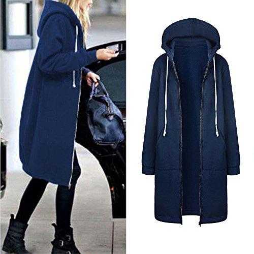 Vêtements LILICAT Femmes Pure couleur poche Chaud Zipper Ouvert Hoodies Sweat Long Manteau Veste Hauts Outwear S-5XL blue