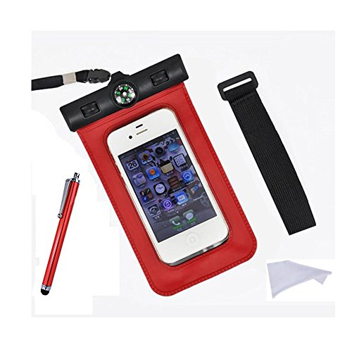 TIODIO® Custodia Impermeabile con Laccio da Collo per Telefoni Cellulari con Funzione Touch Screen Compatibile con Apple iPhone 6, iPhone 6 Plus, Galaxy S6, S6 edge e Altri Smartphone con 4 a 5,5 Sc Rosso