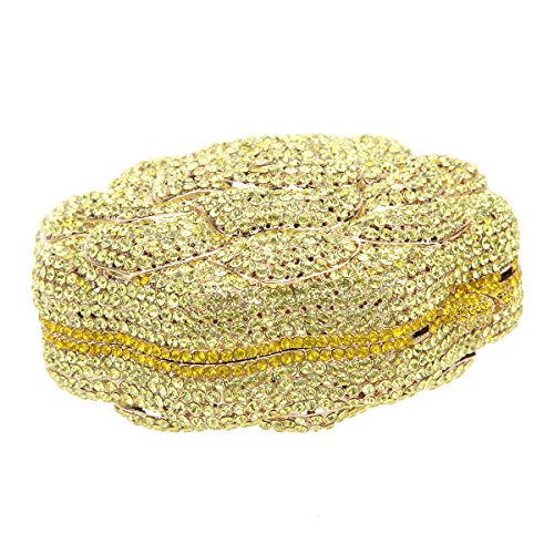 Bonjanvye Studded Rose Evening Purse Crystal Rhinestone Floral Clutch Bag AB Gold Yellow