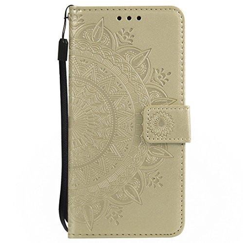 (Pheant Huawei P20 Lite Hülle Schutzhülle Gold Klapphülle mit Standfunktion Kartenfach und Magnetverschluss Sonnenblume Prägemuster Design PU Leder Tasche Silikon Innenschale)