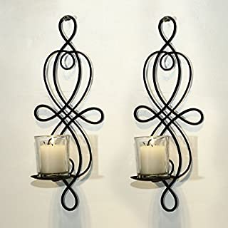 Adeco Brown Iron Vertical Wall Hanging Candle Holder Sconce, Holds One Pillar Candle each (Set of Two)