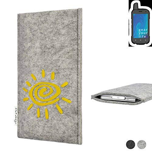 flat.design Handy Hülle für Ruggear RG720 FARO mit Sonne Filz Schutz Tasche Etui Made in Germany fair