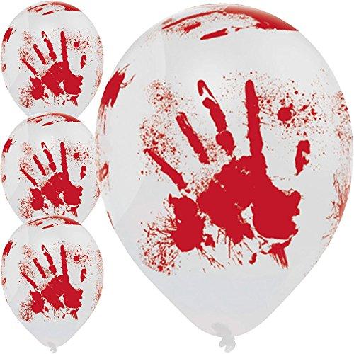 6 große Luftballons * BLUTIGE HAND * für Halloween und Mottoparty // 80cm Umfang und geeignet für Helium // Party Deko Mottoparty Balloons Horror blutige Hände