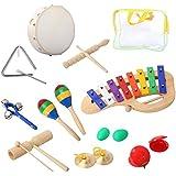 Set de Percussions Cahaya 10PCS instruments de musique et Ensemble de jouets Enlighten Tambourins Bells Maracas Glockenspiel Castagnettes avec petit sac pour bébé Enfants
