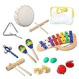 Kit di Strumenti Musicali 10 Pezzi, CAHAYA Giocattolo Percussione per Bambini con Xilofono Tamburello Maracas