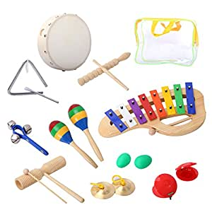 Percussion Set Cahaya Musical Instruments Enlighten Toys Tambourine Bells Maracas Glockenspiel Castanets 10PCS with Carrying Case for Baby Children Kids