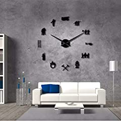 Idea Regalo - jasonding Vigili del Fuoco Fai-da-Te Grande Orologio da Parete Fuoco Attrezzature Gigante Orologio da Parete Arte 3D Grande Specchio Adesivo Design Moderno Orologio Home Decor