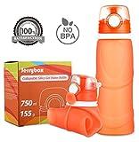 Jerrybox Faltbare Trinkflasche Medizinisches Silikon Wasserflasche 750ml, BPA frei, FDA Geprüft, Tragbare und Auslaufsichere Sportflasche für Outdoor, Reisen, Radfahren, Wandern, Camping und Picknick, Orange