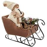 WeRChristmas - Decorazione natalizia, a forma di Babbo Natale con slitta, 60 cm, colore: bianco/marrone
