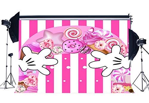 ädchen 1. Geburtstag Hintergrund Baby Shower Candy Lollipops Donut Palm Hände EIS Weiße Streifen Tapete Cartoon Fotografie Hintergrund für Fotostudio Requisiten ()