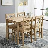 Klassische MCC Essgruppe, Set aus 4 Stühlen und Tisch, nordischer Chic, Natur, Kiefernholz (Natur)