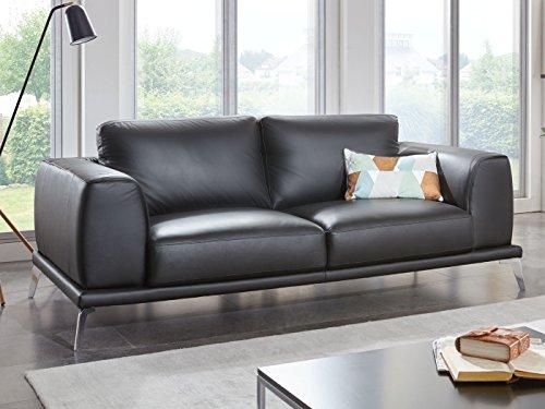 Leder Couchgarnitur 3-2-Sitzer Ledersofa schwarz Nizza Designer Sofa Teilleder