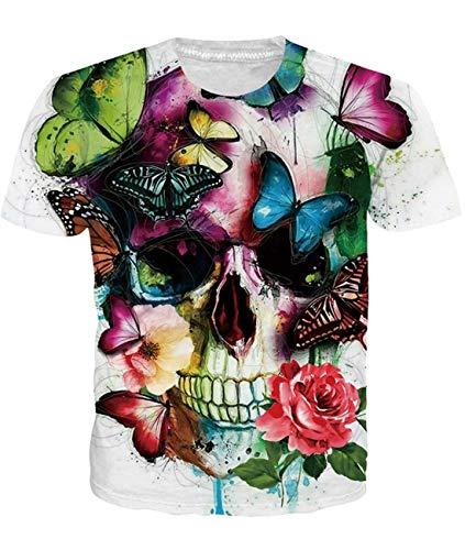 Fanient Herren Damen Aufdruck T-Shirt Rundhals Tee S M L XL XXL, Bunte, XXL -