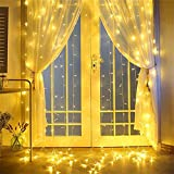 300LED 3M X 3M Window Curtain Lights Icicle Lights for Party Wedding Home Patio Lawn Garden (Warm White)300 LED Window Curtain String Light for Wedding Party Home Garden Bedroom Outdoor Indoor Wall De