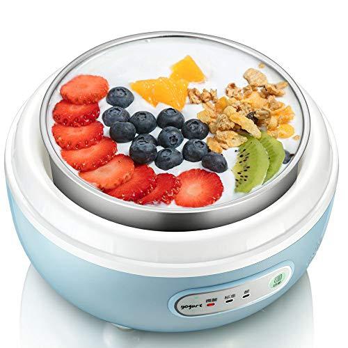 Máquina de Yogurt congelado Máquina de Yogurt congelado, Liner de Vidrio de un litro y Cuatro Tazas de cerámica Máquina automática de Yogurt Digital - Máquina de Yogurt Simple eléctrica