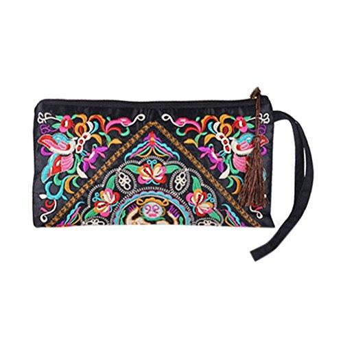 LUOEM Damen Clutch Retro ethnischen Geldbörse Beutel Handy Tasche Wallet bestickte Armband Brieftasche