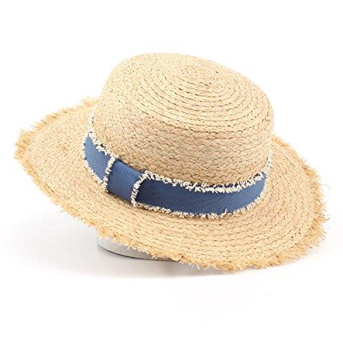 Mme été Raphia Casquette Chapeau De Paille Flash Ruban Bleu Casquette Tourisme Beige