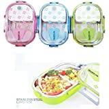 Saanveria Double Layer Leak Proof Airtight Stainless Steel Lunch Box With Inner Compartment And Spoon Bpa