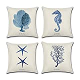 4confezioni di stella marina cavalluccio marino in stile mediterraneo corallo decorativo copri cuscini quadrato in cotone e lino copriletto federa 45,7x 45,7cm