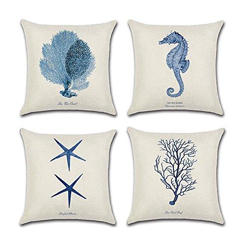 Set di 4 federe decorative per cuscino, tema marino con stella marina, cavalluccio marino, corallo e alga, stile mediterraneo, in cotone e lino, per cuscino quadrato 45,7x 45,7cm