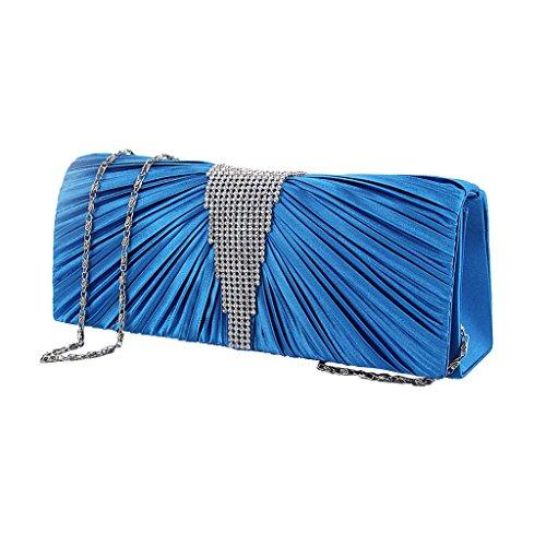 Donna Eleganti Pieghe Pochette Borsa Sacchetto Portafoglio in Raso Sera con Catena - Blu Blu