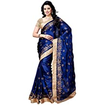Womanista Women's Embroidered Satin Saree with Blouse Piece (FS5027-Blue-Free Size)