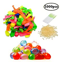 Idea Regalo - Swallowzy Water Balloons Refill Kits 1000 Pack Colorful Latex Bombs Water Fight Games Sports Summer Splash Fun for Kids & Adults